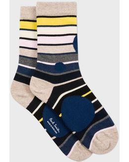Women's Navy Spotted Stripe Socks