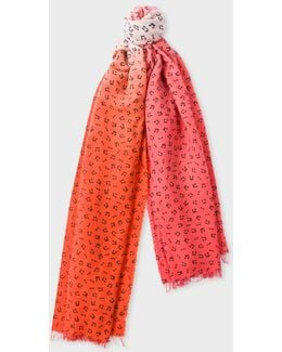 Women's Pink Dip-dye Musical Notes Wool-cashmere Scarf