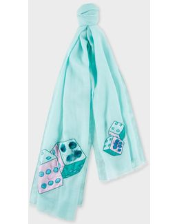 Women's Jade 'double Dice' Embroidered Wool Scarf