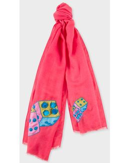 Women's Pink 'double Dice' Embroidered Wool Scarf