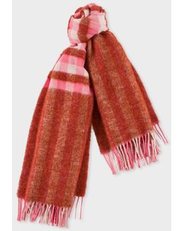 Women's Red Fluffy Gingham Wool-blend Scarf