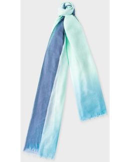 Women's Jade And Blue Dip-dye Cashmere-silk Scarf