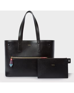 Women's Black Leather Tote With Removable Wallet And 'artist Stripe' Lining