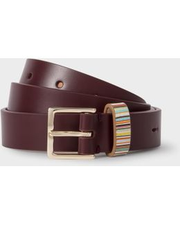Women's Burgundy Leather Belt With Signature Stripe Keeper