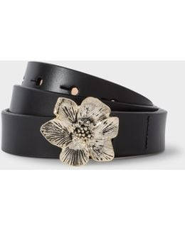 Women's Black Leather Floral Buckle Belt