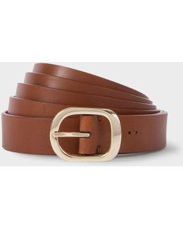Women's Brown Leather Double Length Wrap Belt