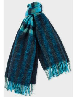 Women's Navy Fluffy Gingham Wool-blend Scarf