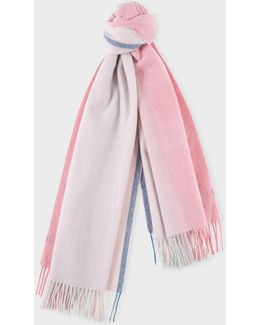 Women's Pink Ombré Lambswool-cashmere Scarf
