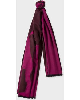 Women's Pink 'silhouette' Jacquard Scarf