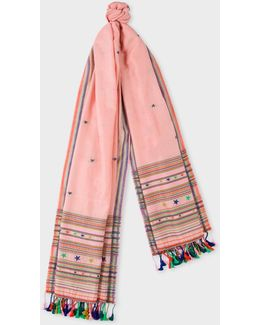 Women's Pink Stars And Stripes Cotton-silk Scarf