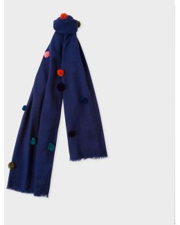 Women's Navy Wool Scarf With Multi-coloured Pom-poms