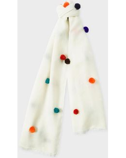Women's Off-white Wool Scarf With Multi-coloured Pom-poms