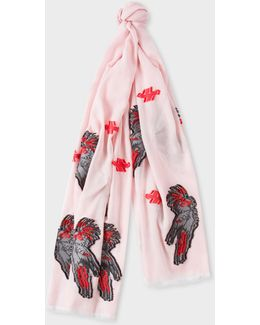Women's Light Pink 'cockatoo' Motif Scarf