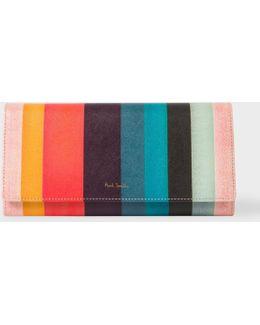 Women's 'artist Stripe' Print Leather Make-up Bag