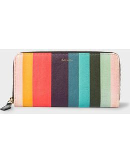 Women's Large 'artist Stripe' Print Leather Zip-around Purse