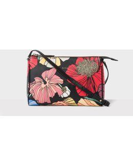Women's 'wild Garden' Print Leather Pochette