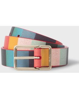 Women's 'artist Stripe' Calf Leather Belt