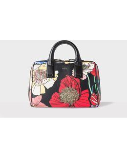 Women's 'wild Garden' Print Leather Mini Bowling Bag