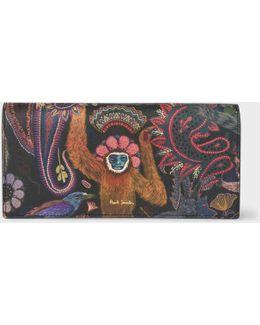 Women's 'monkey' Print Leather Tri-fold Purse