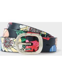 Women's 'wild Garden' Print Calf Leather Belt