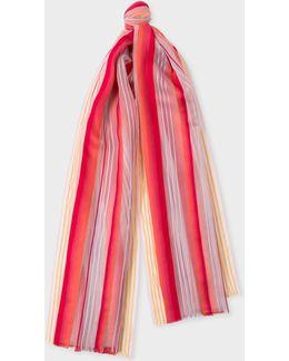 Women's Pastel Pink Gradient Stripe Silk-blend Scarf
