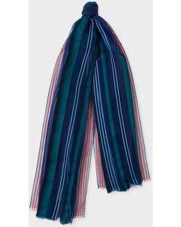 Women's Navy Gradient Stripe Silk-blend Scarf