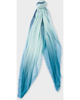 Women's Light Turquoise And Petrol Dip-dye Cashmere-silk Scarf