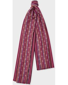 Women's Damson Polka-stripe Cotton-blend Scarf