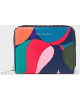 Women's Small 'marble' Print Leather Zip-around Purse