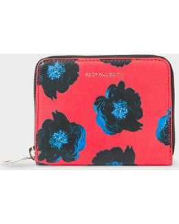 Women's Small Red 'sea Aster' Print Leather Zip-around Purse