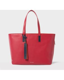 Women's Raspberry Red Leather Tote Bag