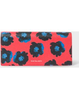 Women's Red 'sea Aster' Print Leather Tri-fold Purse