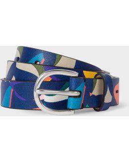 Women's 'marble' Print Leather Belt