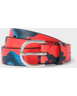 Women's 'sea Aster' Print Leather Belt