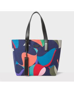 Women's 'marble' Print Canvas Tote Bag