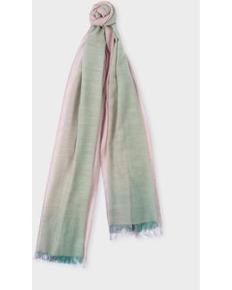 Women's Duck Egg Blue And Mauve Graduated Wool Scarf