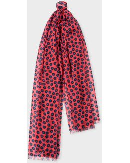 Women's Red 'sea Aster' Floral Pattern Scarf