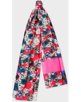 Women's Bright Pink 'photo Floral' Print Scarf