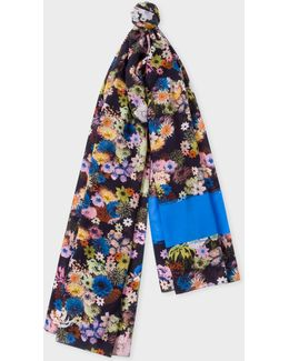 Women's Navy 'photo Floral' Print Scarf