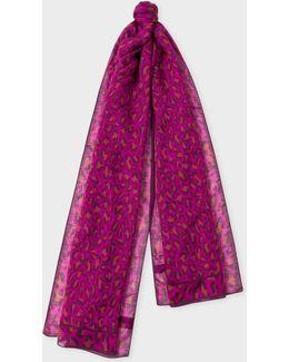 Women's Fuchsia 'leopard' Print Cashmere-blend Scarf