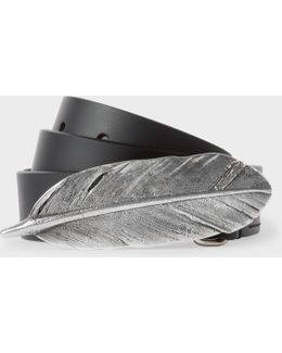 Women's Black Feather Buckle Leather Belt