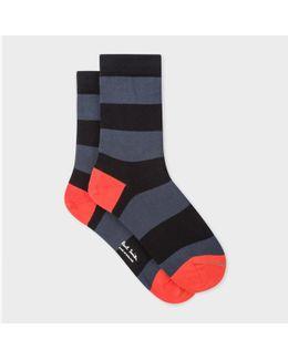 Women's Charcoal Grey And Black Stripe Socks