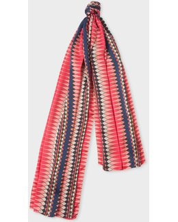 No.9 - Women's Pink Multi-coloured Silk Scarf