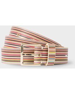 Women's Signature Stripe Leather Belt