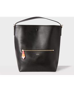 Women's Black Leather Hobo Bag With 'artist Stripe' Lining