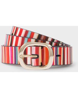 Women's 'crossover Stripe' Print Calf Leather Belt