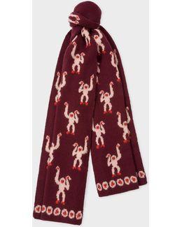 Women's Burgundy 'monkey' Jacquard Merino Wool Scarf