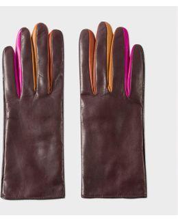 Women's Damson Leather Concertina Gloves