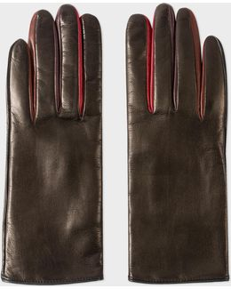 Women's Black Leather Concertina Gloves