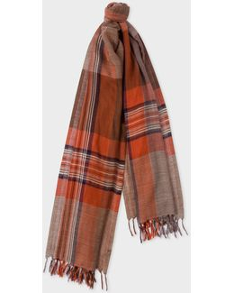Women's Chocolate Brown Check Wool Scarf
